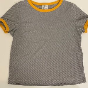 H&M Yellow And Striped T-Shirt